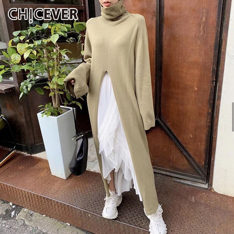 CHICEVER Korean Casual Sweater For Women Turtleneck Long Sleeve Hem Side Split Warm Knitted Female Pullovers 2020 Autumn Clothes