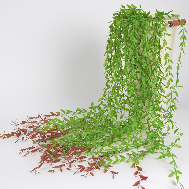 Simulation Green Leaf DIY Decoration Rattan Green Classic Leaves Home Artificial Willow Vine Fake Foliage Flowers Plastic Plants