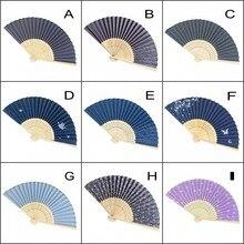 12PCS Japanese style bamboo frame cotton fabric folding fan hand held home decorative fan