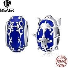 Blue Enamel Beetle Beads BISAER 925 Sterling Silver Blue Enamel Beetle Beads Charms for jewelry Making Bracelet 925 GAC196 ckk beads magnolia charms with blue enamel authentic 925 sterling silver fits pandora bracelet beads for jewelry making berloque