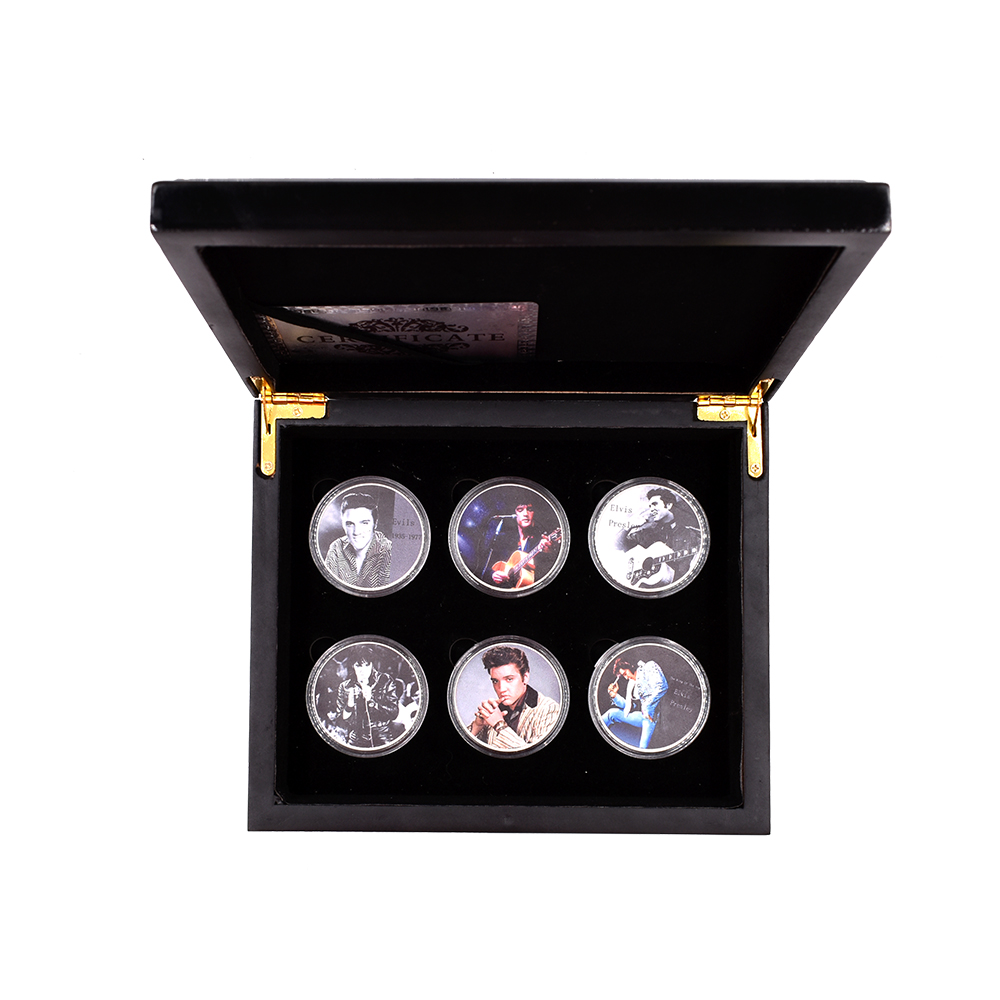 The King Of The Pop Elvis Presley 999.9 Silver Plated Coin Home Decorative Metal Coin 6pcs With Wooden Box
