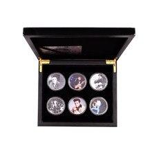 O rei do pop elvis presley 999.9 prata chapeado moeda casa decorativa metal moeda 6 pçs com caixa de madeira