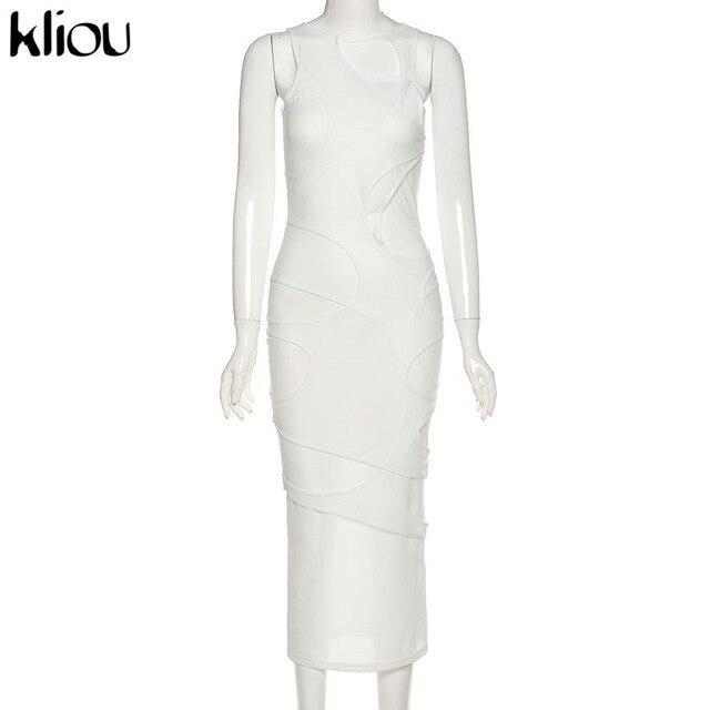 Kliou Sexy Maxi Dress Women Spring Active Irregular Shape Streetwear Sleeveless Skinny Slim Bodycon Vestido Sense of Design Hot 2