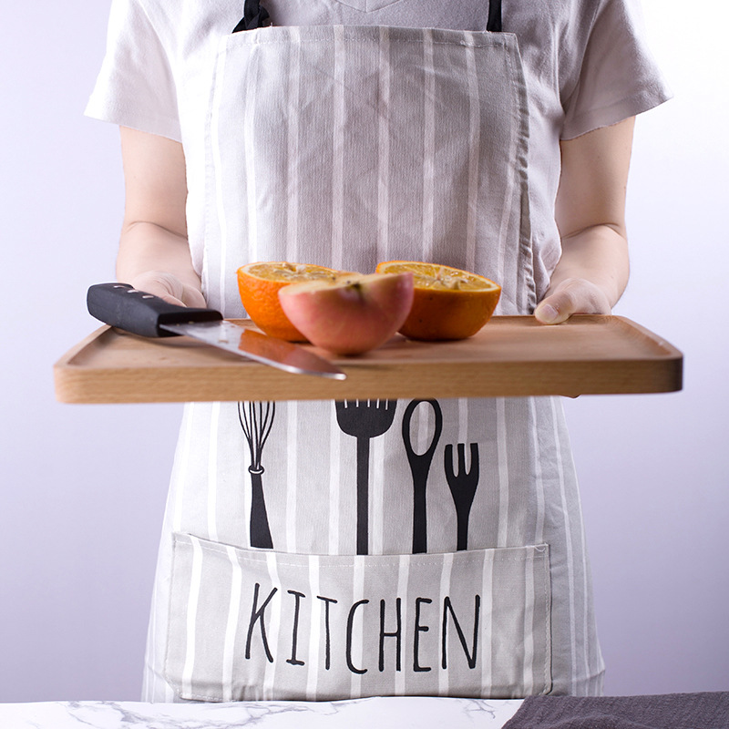 Xiao xi jia Northern European Style Spoon Fork Fabric Apron Coffee Bakery Kitchen Work Clothes Home|Oversleeves| |  - title=