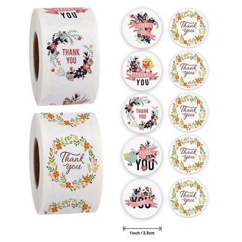 500Pcs/roll creative Floral Thank You Sticker for Wedding Envelope Gift Box/bag Sealing Stickers Label DIY Diary Scrapbooking jwhcj creative arts font thank you