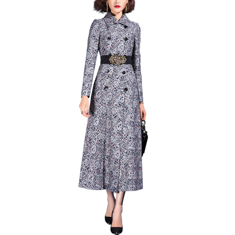 2021 Spring New Pattern Casual Elegant Floral Windbreaker Long Trench Coat for Women|Trench| - AliExpress