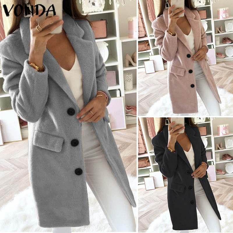New VONDA Office Ladies Coats Trench Women Autumn Winter Slim Coats 2020 Vintage Casual Buttons Pockets Long Plus Size