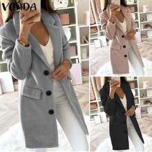 New VONDA Office Ladies Coats Trench Women Autumn Winter Slim Coats 2019 Vintage