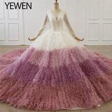 Gradientowy biały różowy dekolt z długim rękawem luksusowe suknie ślubne 2020 naszycia z cekinów wielowarstwowa wysokiej klasy suknia ślubna Custom Made YEWEN