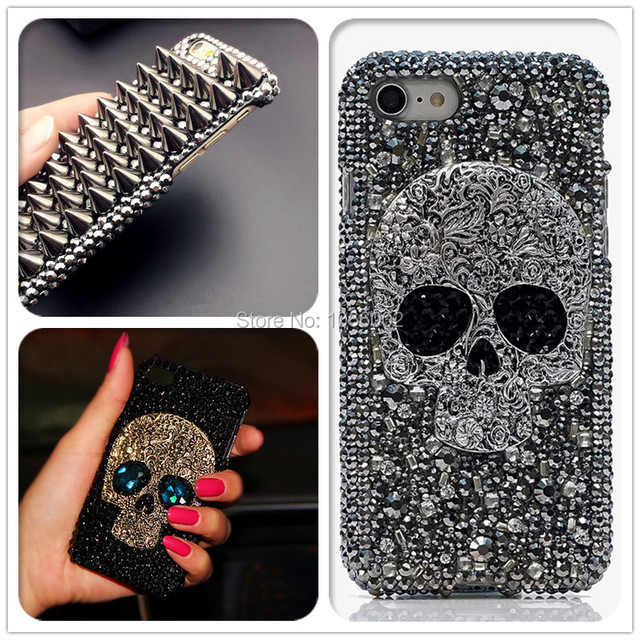 3D serin Punk Spikes çiviler perçin elmas Bling çapa Samsung Galaxy S10e S9 S10 S20 artı FE not 10 + 10 Lite 9 20 Ultra