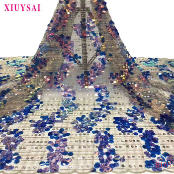 2020 Latest African Lace High Quality glitter big sequins African French Tulle Lace Fabric embroidery For African Wedding S165