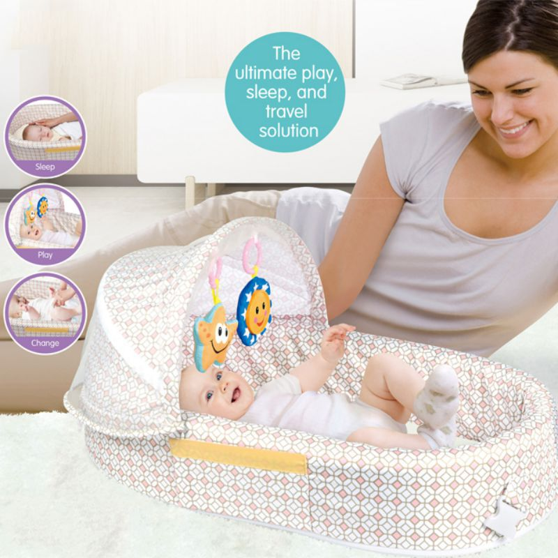Baby Travel Bed Portable Multifunction Backpack Cot Newborn Ourdoor Travel Folding Crib Cloth ABS Plastic Cotton Material