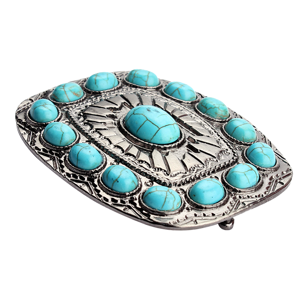 Vintage Blue Turquoise Square Metal Waist Belt Buckle Men Women Metal Beautiful Fashion Belt Buckle