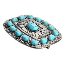 Vintage Blue Turquoise Square Metal Waist Belt Buckle Men Women Beautiful Fashion