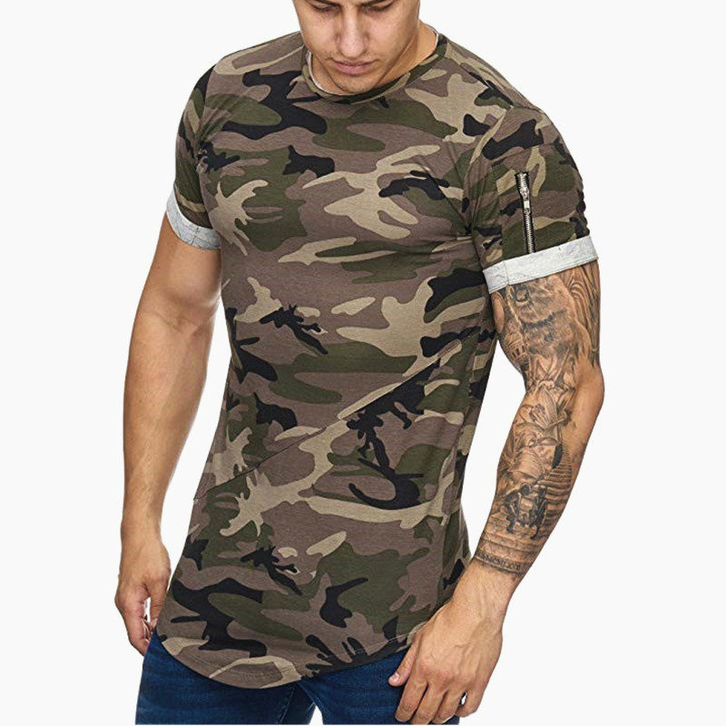 2019 New Men t-shirt Bodybuilding <font><b>Slim</b></font> O-Neck Short Sleeve <font><b>tShirts</b></font> Men Casual Joggers Fitness Camouflage Tees Tops Gyms Clothing image