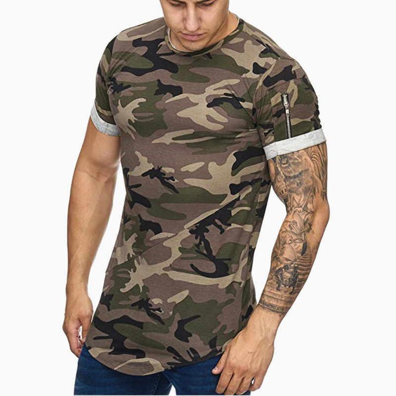 2019 nouveaux hommes t-shirt musculation mince col rond manches courtes t-shirts hommes décontracté Joggers Fitness Camouflage t-shirts hauts gymnases vêtements