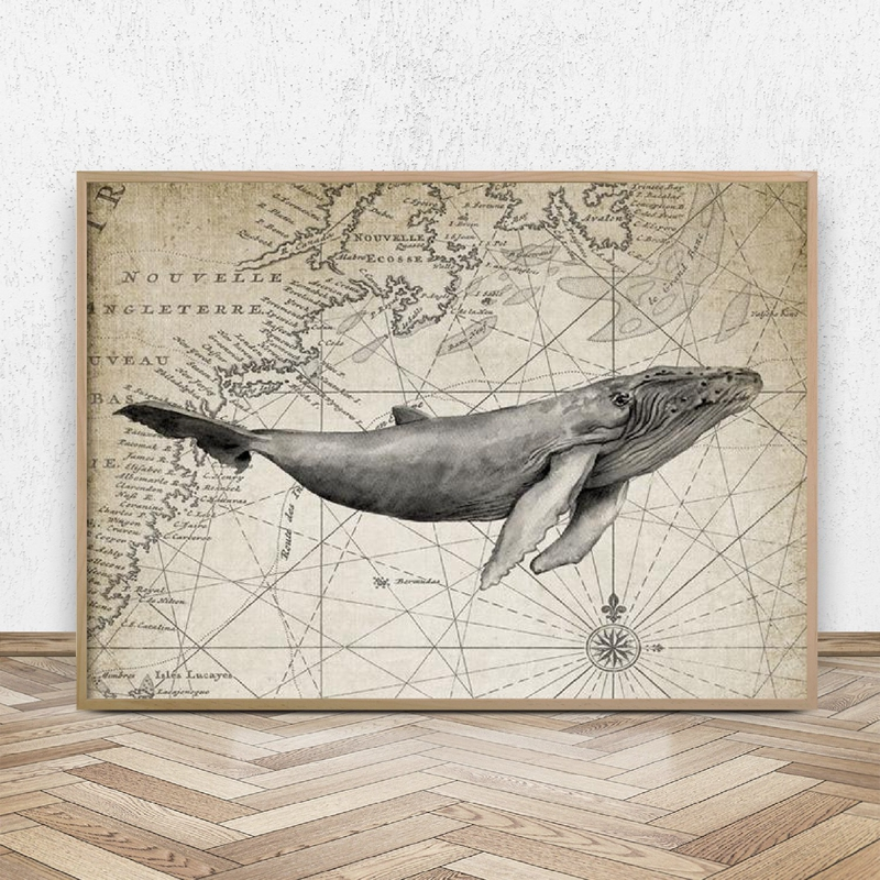 Humpback Whale Art Print Abstract Watercolor Painting Animal Wall Decor