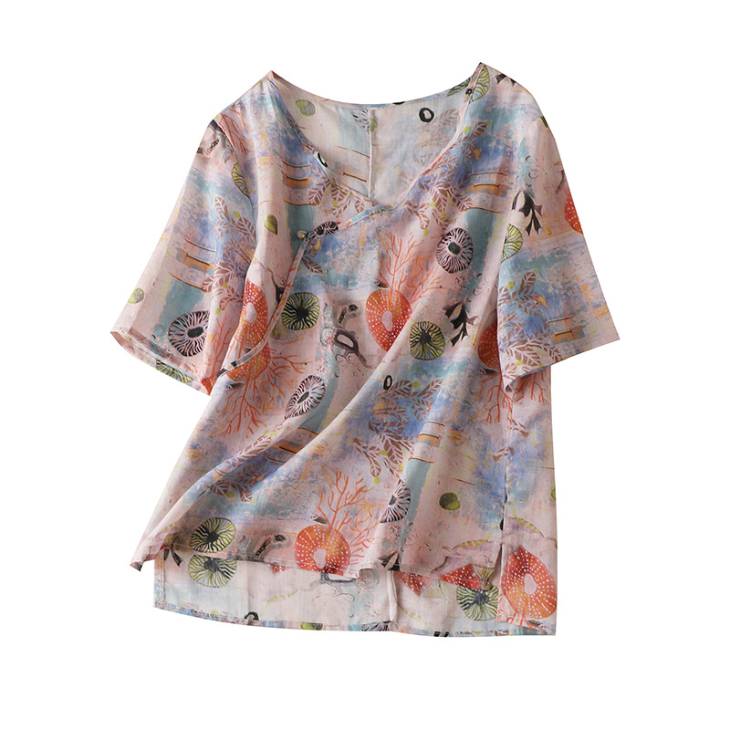 Indie Folk Print Ramie Tops Women Short Sleeve V-Neck Women's Tops and Blouses Blusas Femininas Verao Summer Fashions