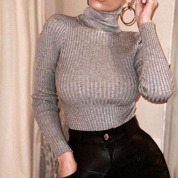 Long Sleeve Turtleneck Bodysuit Women Winter Clothing Ribbed Knitted Skinny Women's Body Gray Black 2020 New Female Outfits 5