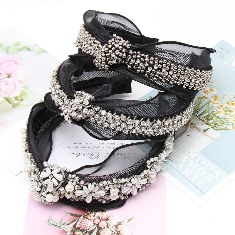 Oaoleer Hair Accessories Pearls Headbands Vintage Bohemian Black Lace Hairband With Metal Beads Knot Rhinestone Bow Hair Hoop