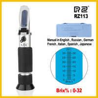 RZ Brix refractómetro 0 32% RHB-32ATC de azúcar óptico bebidas alimenticias ATC contenido RZ113 medidor herramienta de prueba de mano