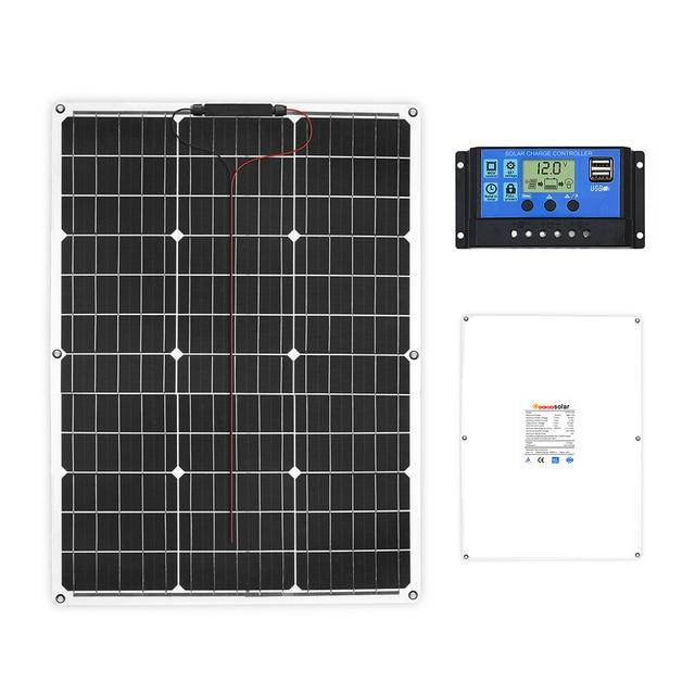 DOKIO Brand Solar Battery 50W Flexible Solar Panel 50W 12V 24v Controller +10A Solar System Kits for Fishing Boat Camping/car 2