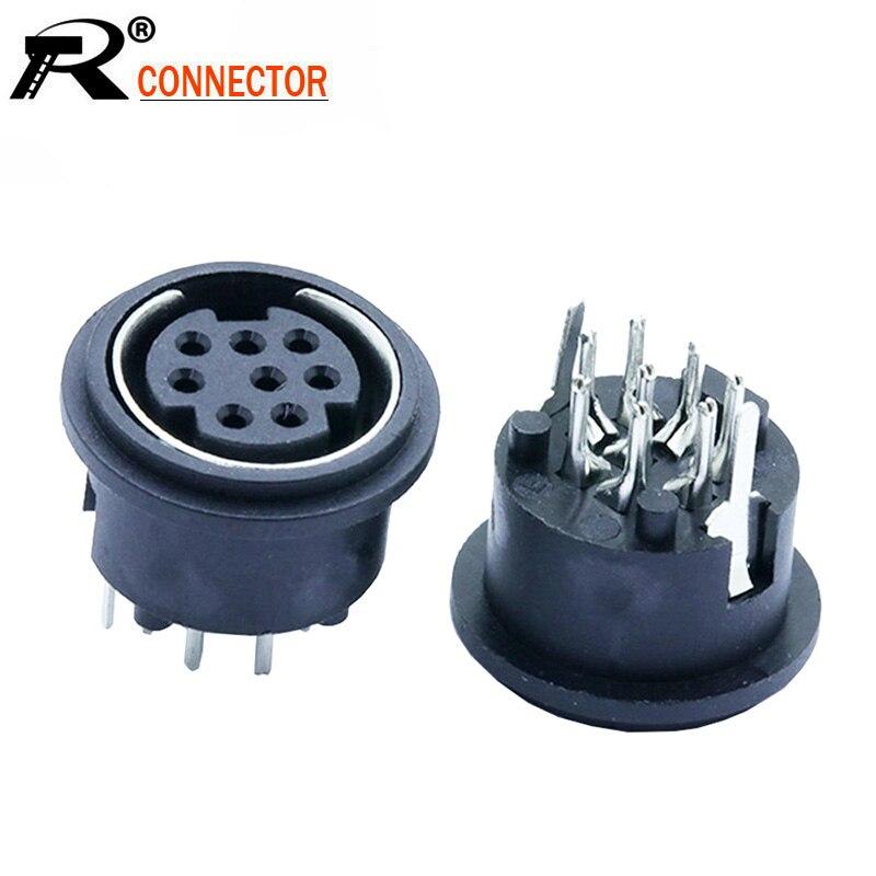 10pcs/lot 8 Pin Mini DIN Female Socket Connector 8Pin DIN Mini Jack PS2 Mini Circular DIN Terminal Chassis