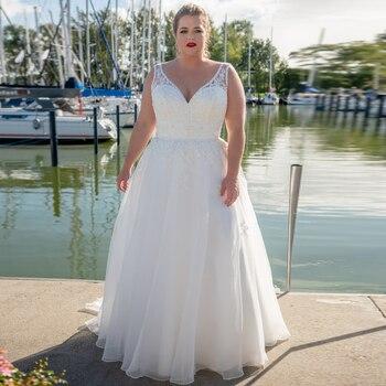 Fashion V-neck A-line Plus Size Wedding Dresses Organza Sweep Train Vestido de Novia Lace Bridal Gown Customized - discount item  50% OFF Wedding Dresses
