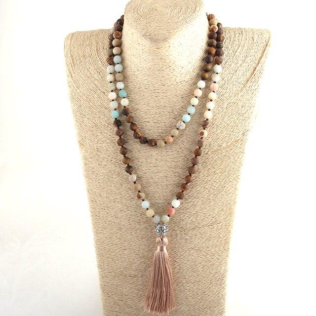 Женские богемные этнические ожерелья из 108 бусин