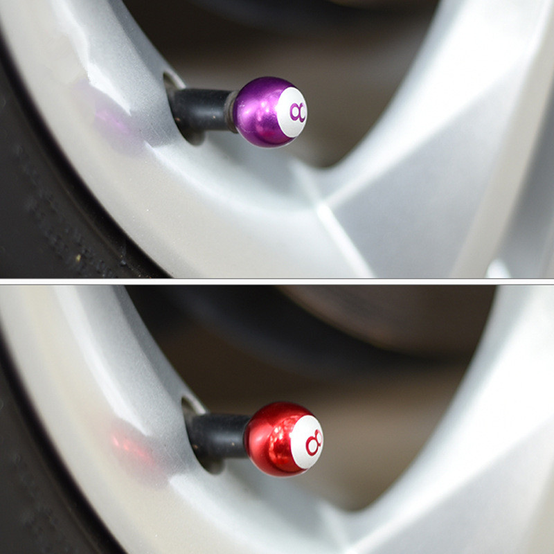 4Pcs/Set Universal Aluminum Car Valve Caps Creative Billiard Black 8 Wheel Caps Dustproof Rustproof Caps For Car Motorcycle Tire