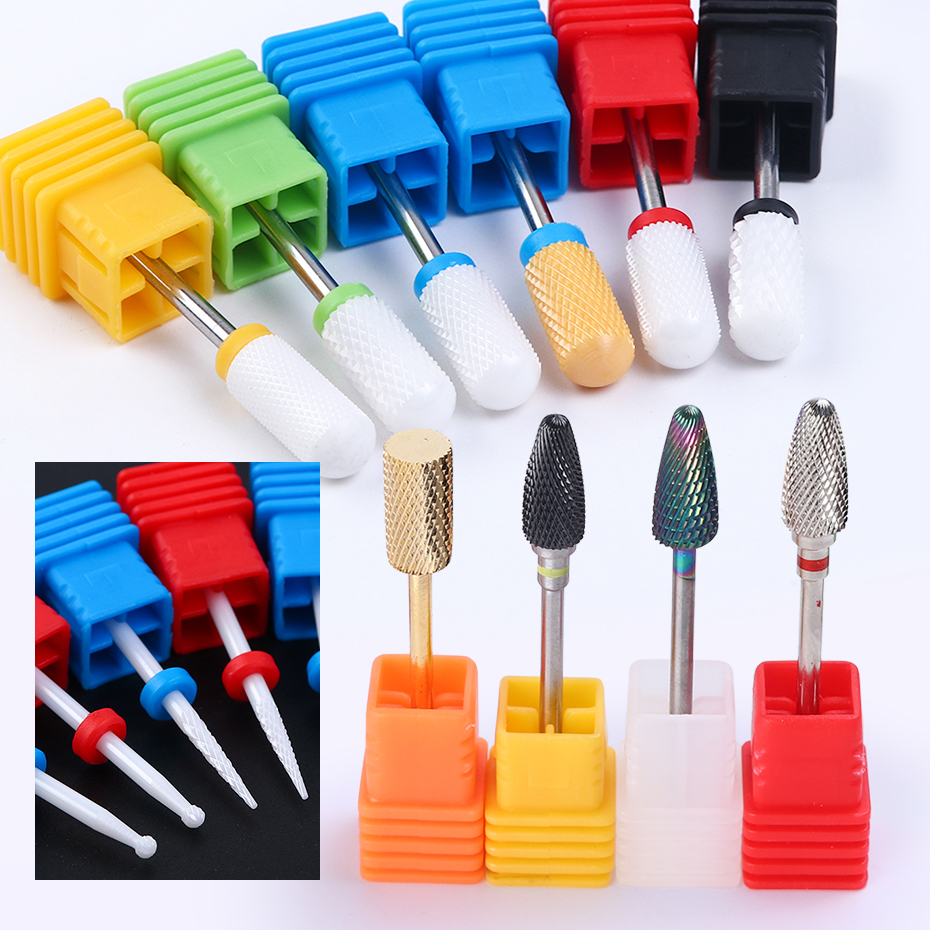 1pc Ceramics Milling Cutter For Electric Nail Drills Diamond Cutter Bits Carbide Burrs UV Gel Remover Manicure Tools BEZL01-25
