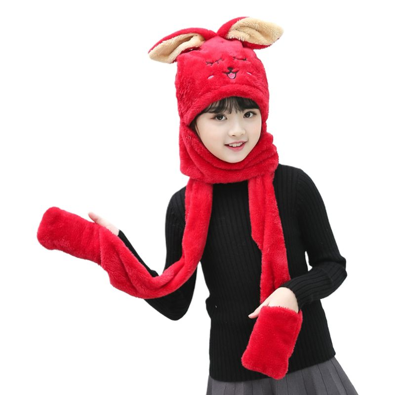 Unisex 3 In 1 Kids Scarf Hat Gloves Thick Plush Animal Pattern Hoodie Earflap High Quality And Brand New