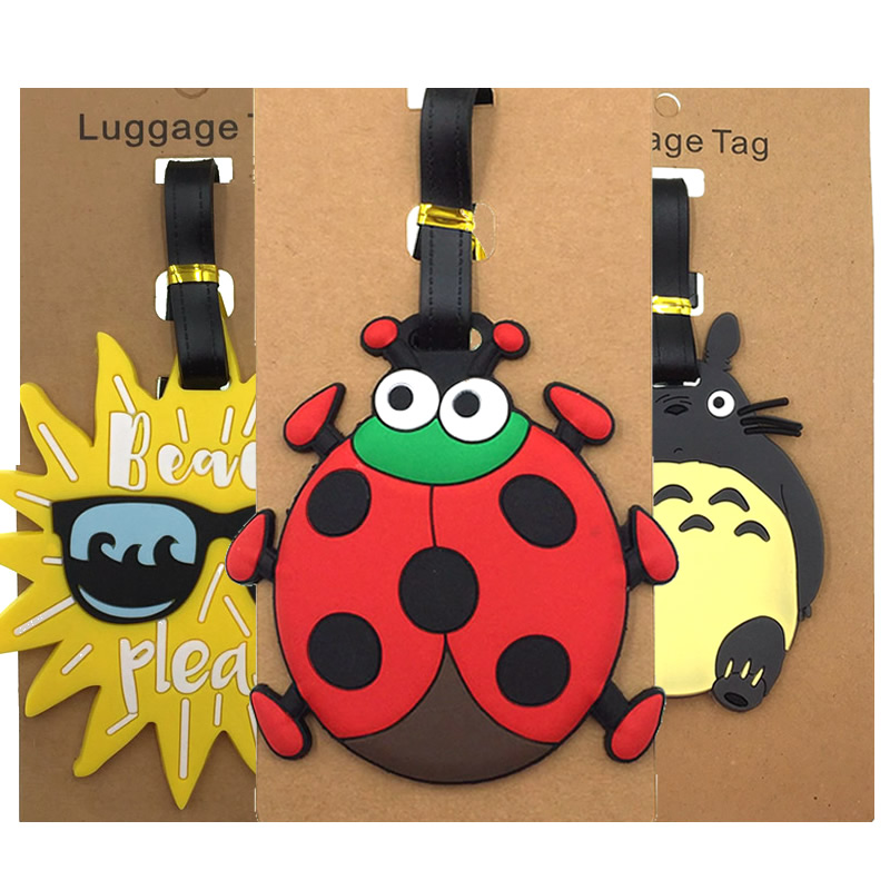 Cartoon Animal Prints Luggage Tags Portable Suitcase ID Addres Holder Baggage Boarding Silica Gel Women Label Travel Accessories