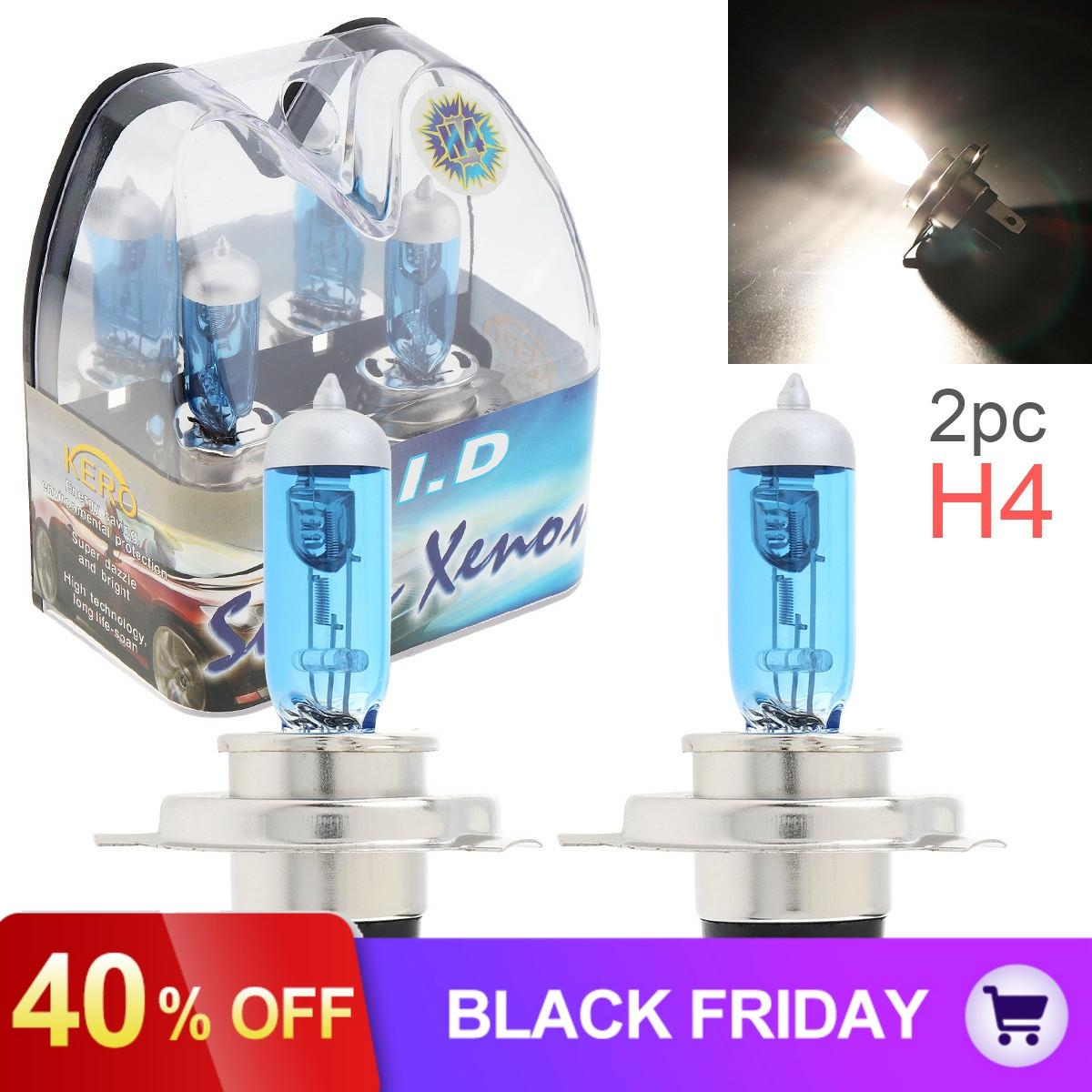 2pcs/lot 12V H4 60/55W 6000K White Light Super Bright Car Xenon Halogen Lamp Auto Front Headlight Car Fog Light Bulb