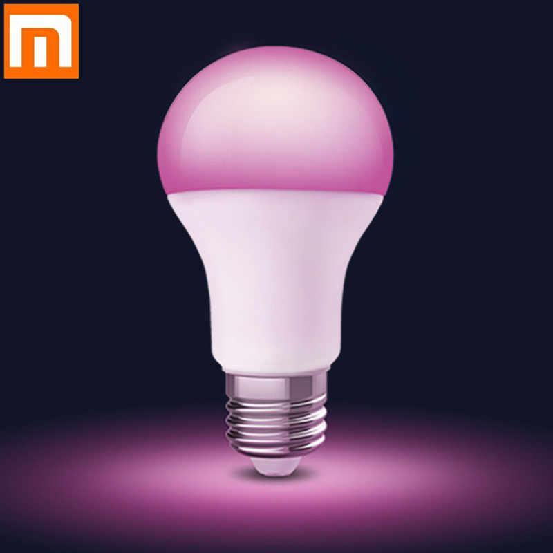 Najnowszy Xiaomi E27 żarówka LED światła RGB 7000K biały, że światło jest jaśniejsze wymienny kolorowy aplikacji Mijia inteligentny pilot zdalnego sterowania