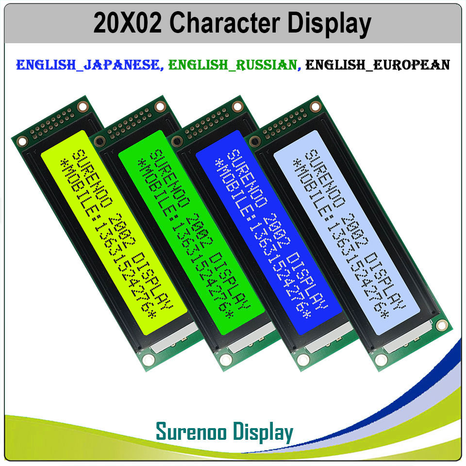 Engels/Japans/Russisch/Europese 202 20X2 2002 Karakter Lcd Module Display Screen Lcm Lcd Met led Backlight