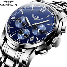 GUANQIN Mens קוורץ שעונים עסקי יוקרה הכרונוגרף תאריך שעון למעלה מותג ספורט שעון שחייה שעוני יד relojes hombre