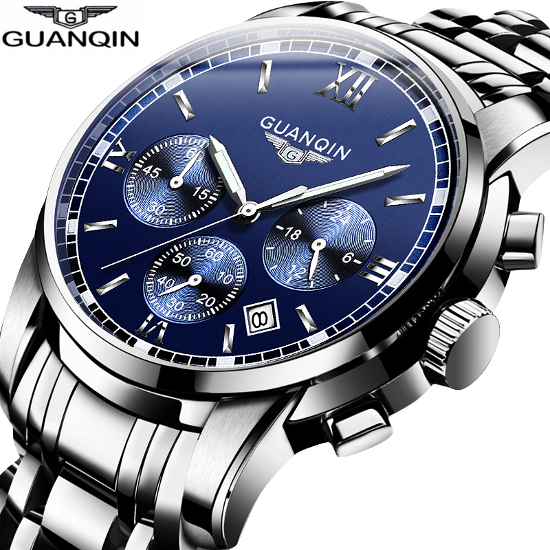 GUANQIN NEW Relogio Masculino Mens watches Top Brand Luxury Quartz business Chronograph Watch Swimming Wristwatch relojes hombre-in Quartz Watches from Watches