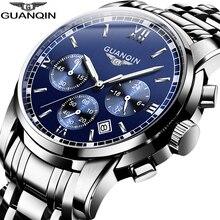 GUANQIN hommes montres à Quartz de luxe affaires chronographe Date horloge haut marque Sport montre natation montre bracelet relojes hombre