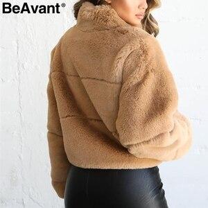 Image 4 - BeAvant Thick teddy faux fur winter coat women Casual autumn zipper soft female outwear coats Long sleeve streetwear lady jacket