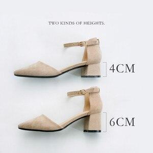 Image 4 - Zapatos de tacón alto cuadrado para mujer, sandalias de ante de imitación con correa en el tobillo, con punta en pico, para oficina, 2020