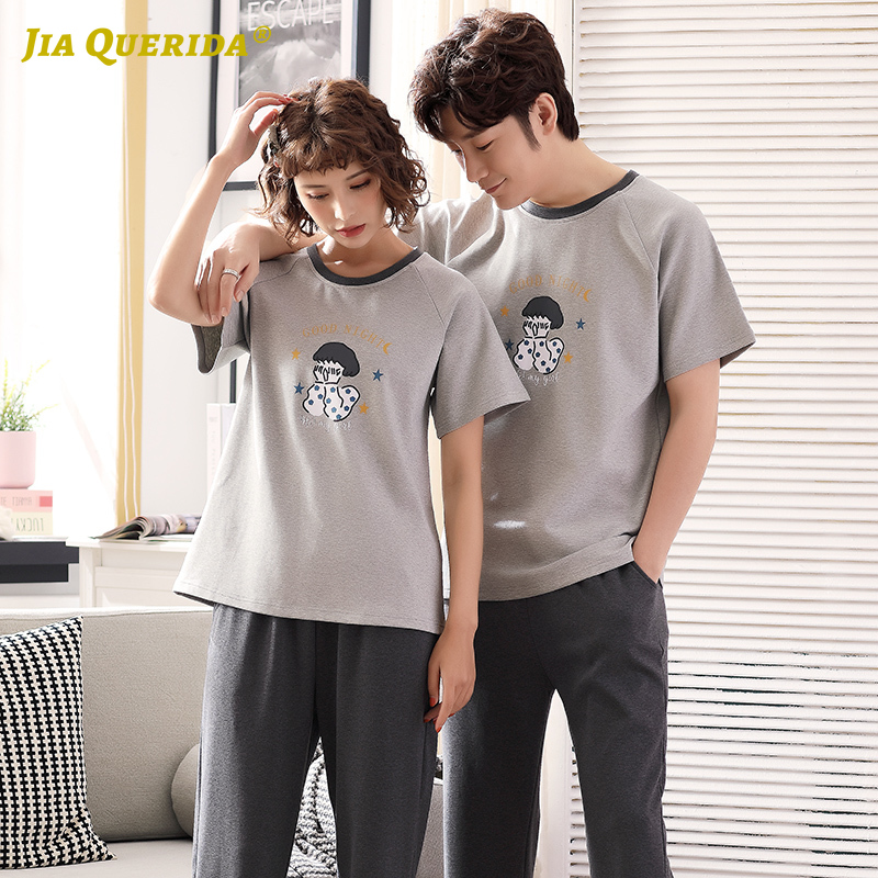 New Cartoon Printing Pajamas Set Homesuit Homeclothes Fashion Style Crew Neck Sleepwear Short Sleeve Long Pants Smart Casual