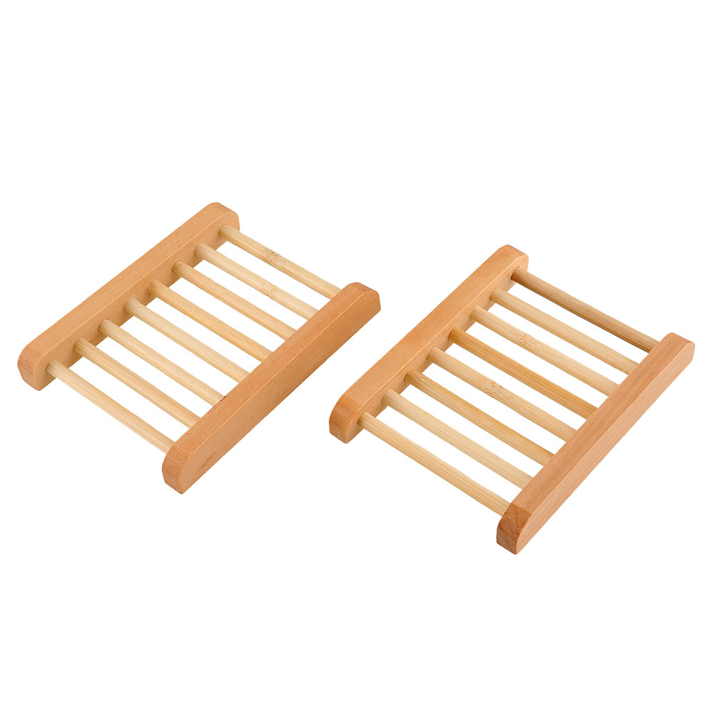 SOLEDI Handgemachte Seifenschale Bambus 2 Pcs Holz Bambus Seifendose Dusche Seife Dish