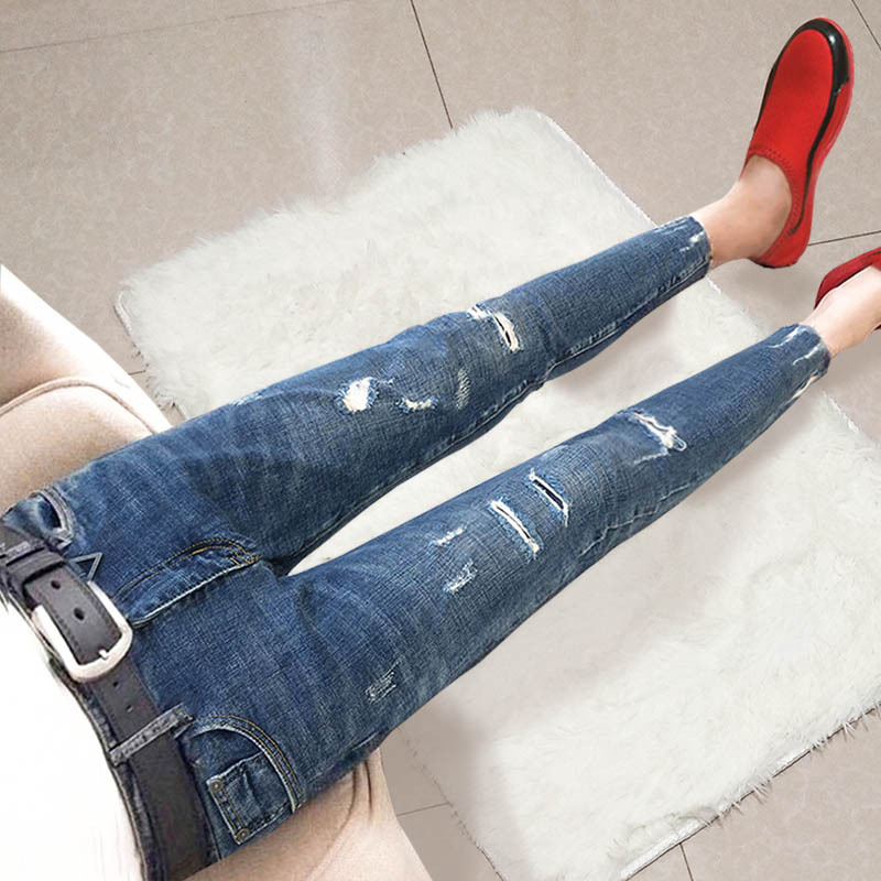 summer autumn 2020 Fashion Casual teenagers ankle length pants holes social spirits guys tight jeans men's slim pencil pants