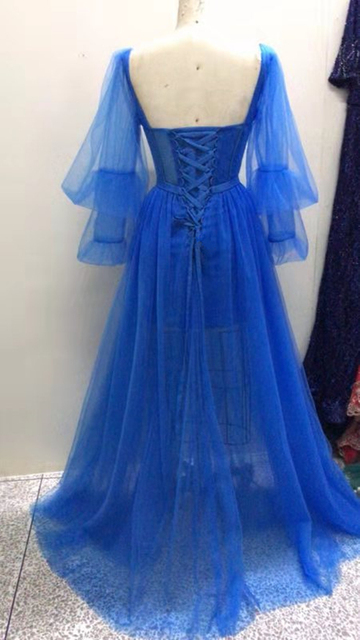 LORIE Blue Prom Dresses Long Puffy Sleeve Tulle Backless Formal Evening Party Gowns Beauty Pageant Dresses 2020 Custom Made 2