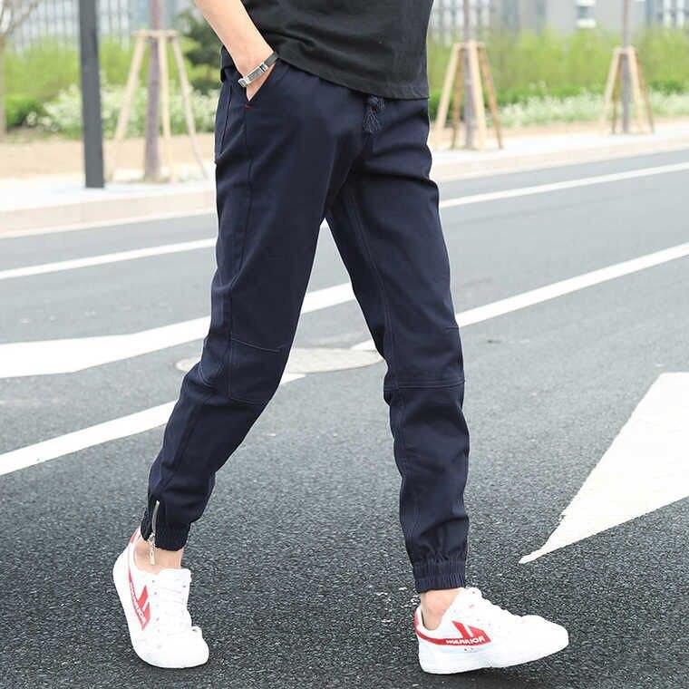 Capri Pants MEN'S Trousers Skinny Pants Slim Fit Casual Pants Korean-style Closing Ankle Banded Pants Large Size Harem Pants