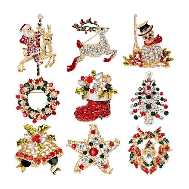 9-Pack Multicolor Christmas Brooch Pin Set Christmas Decoration Jewelry Gifts