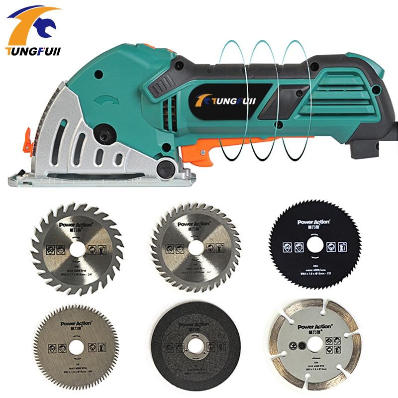 Multi-fonction électrique tronçonneuse 500W outils de travail du bois tuile en métal Mini Machine de découpe scie circulaire ménage tronçonneuse ensemble