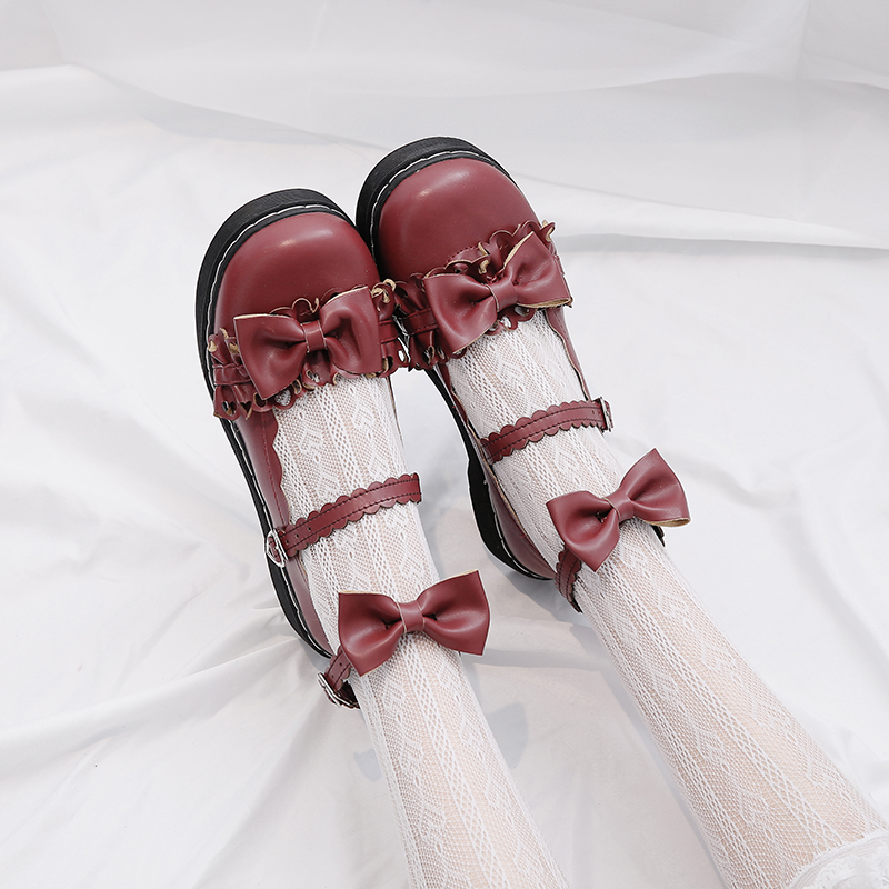 4 Colors Cute Lolita Shoes Lace Bowtie Harajuku JK Round Toe Buckles Straps School Students Uniform Dress Girls