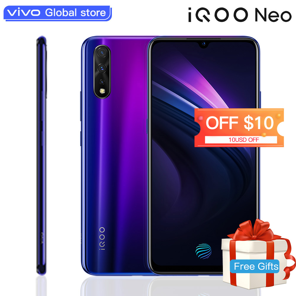 "Smartphone d'origine vivo IQOO Neo 6GB 128GB Android 9 Snapdragon 845 4500mAH 3 caméras Super Amoled 6.38 ""écran téléphone Mobile"